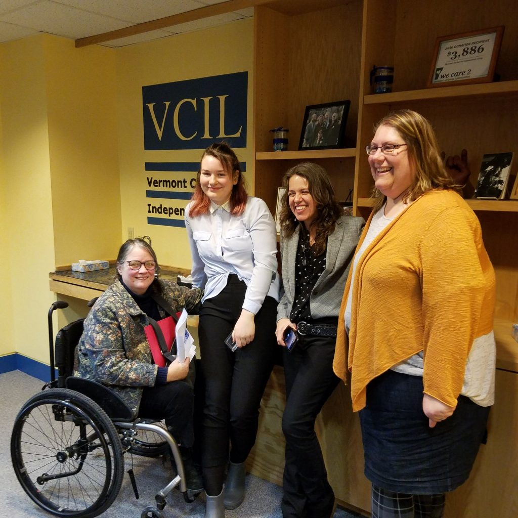On Jan. 22, the Vermont Center for Independent Living presented the 2019 Deborah Lisi-Baker Youth Leader Awards. From left are Lisi-Baker, winner Celilo Bauman-Swain, Amanda Garces (who nominated Celilo for the award) and VCIL Executive Director Sarah Launderville.
